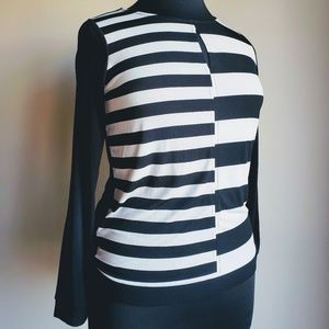 Worthington Black & White Striped Blouse